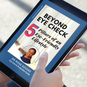 Cover page of the 'beyond eye check'  booklet on a tablet